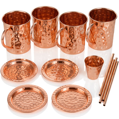Moscow Mule Copper Mugs: Set of Four - Includes 4 x 16oz Mugs, 4 x Coasters, 4 x Straws, 1 x Shot Glass/Cup in Gift Box - 100% Copper - Handmade Roosevelt Style Drinking Mug