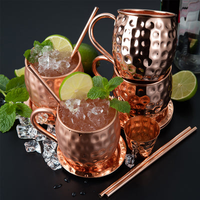 Riches & Lee Moscow Mule Copper Cups Includes 4 Glasses, 4 Coasters, 4 Straws, 1 Measuring Cup plus 100% Pure Copper Accessories Barrel Glasses