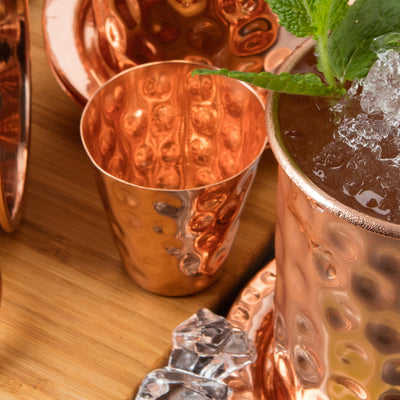 Copper Shot Glass x 1 - Handmade with 100% Copper - Hammered Style, 2oz Shot Measure for Pouring Alcohol/Liquid into a Mug, Cup or Glass - Includes Gift Box