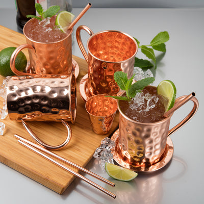 Moscow Mule Copper Mug x 1 - Handmade with 100% Copper - 16oz Roosevelt Style Mugs with Hammered Effect in Gift Box - Kitchen Cup for Drinking, Dining & Entertaining