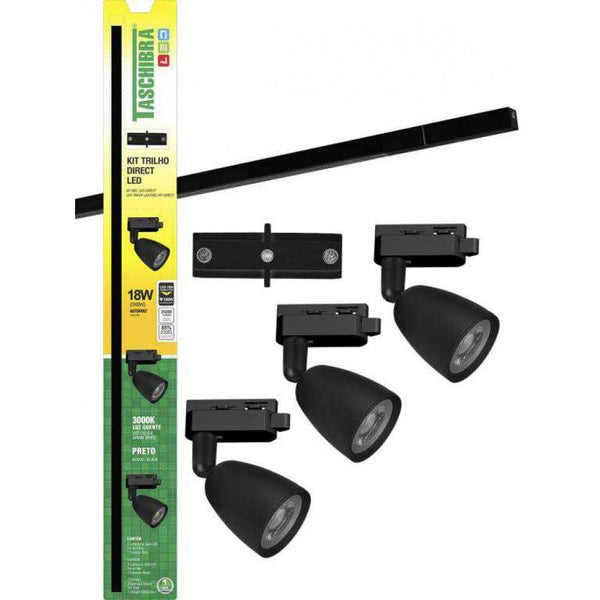 Kit Trilho Direct Led 3000K Preto Trilho TASCHIBRA