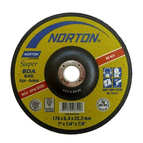 "Disco Desbaste P/ Aco Bda640 Super 7"" 178x6,4x22,2mm Disco NORTON"