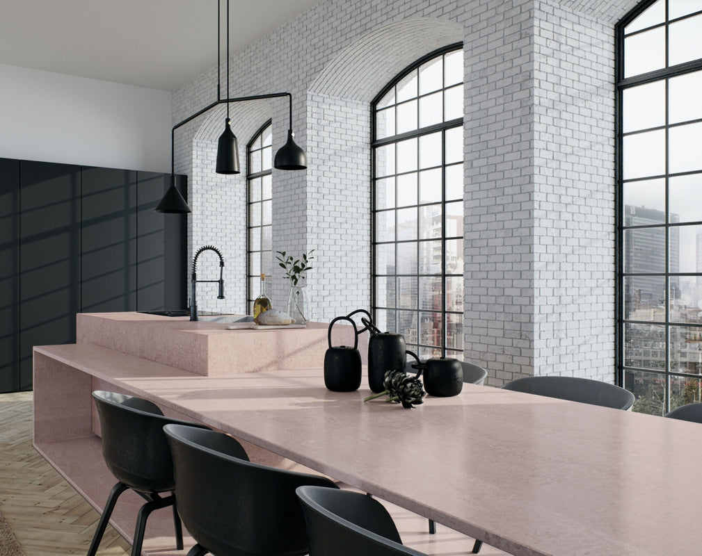 4023 Topus Concrete from Caesarstone's Metropolitan Collection features in this industrial chic kitchen