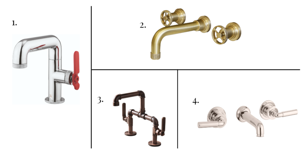 4 industrial-style bathroom taps