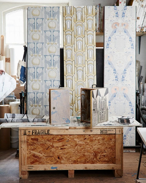 A corner of Daniel's London studio space where he designs and prints his wallpaper.