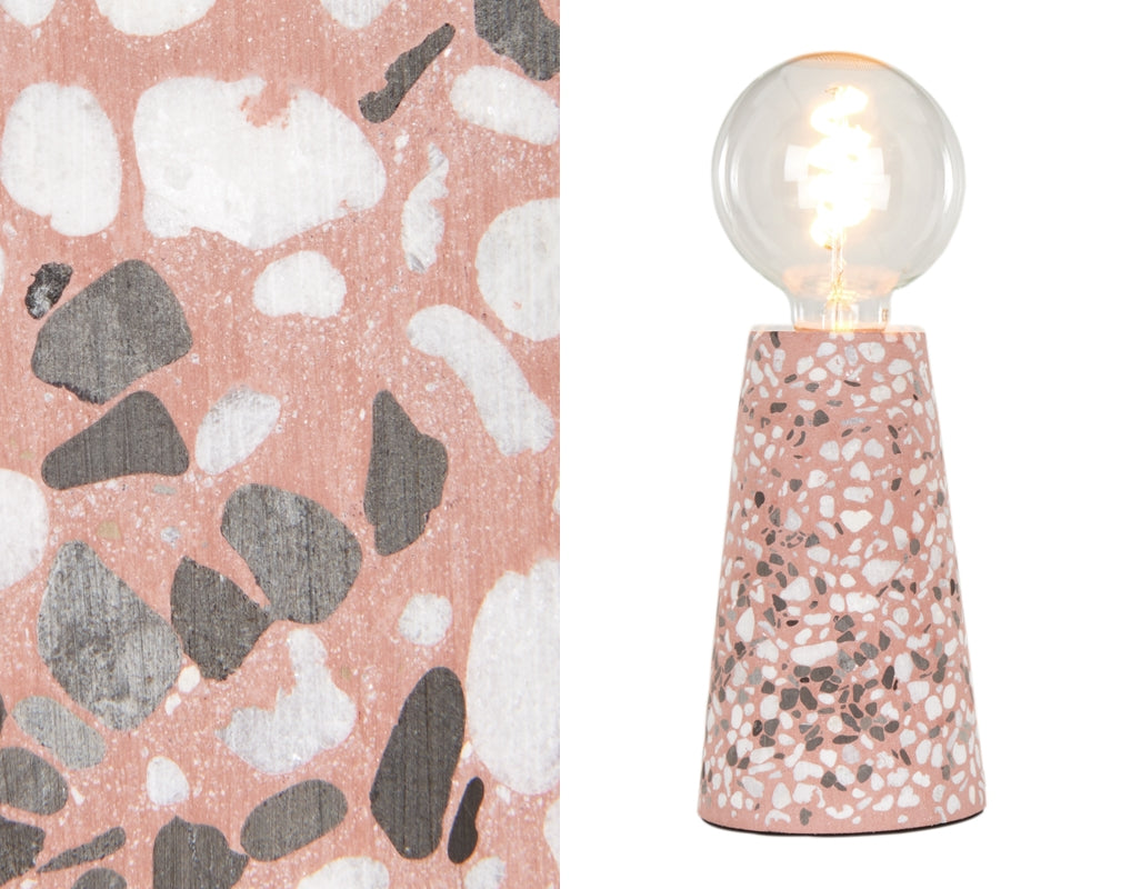 A detailed image showing the terrazzo of the Made.com Jett Table Lamp Pink Terrazzo