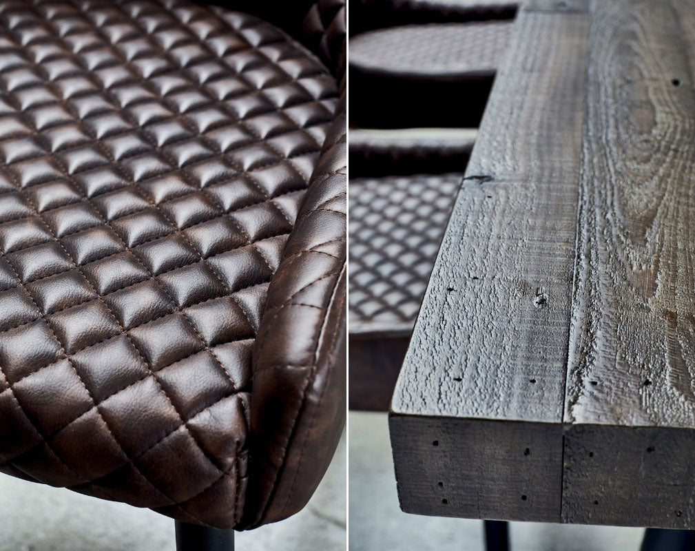 Barker & Stonehouse 'Wonder Years' Industrial Style Homewares Collection - quilted leather chair and wooden bench