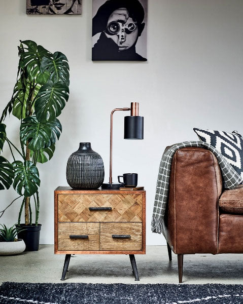 Barker & Stonehouse 'Wonder Years' Industrial Style Homewares Collection - small side table next to leather sofa