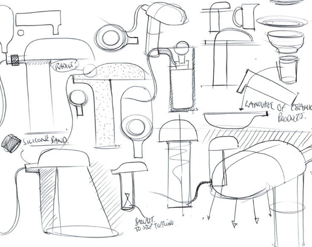 Sketches of the Container lamp by Benjamin Hubert of Layer