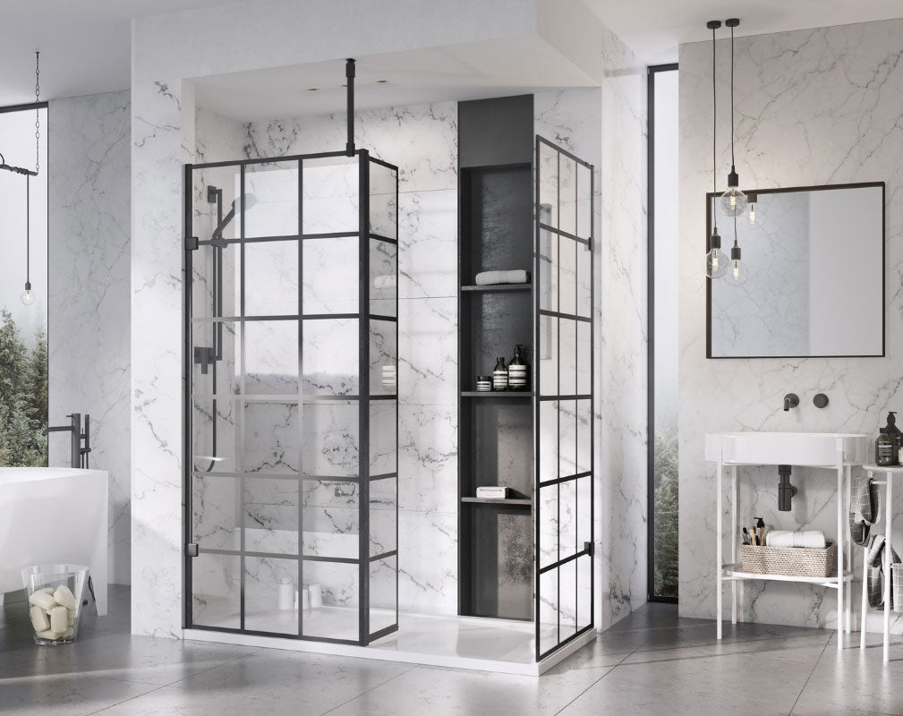 Bathroom Trends Crittall Style Showel panels and enclosures. Black Grid Design Wetroom Panel from Roman