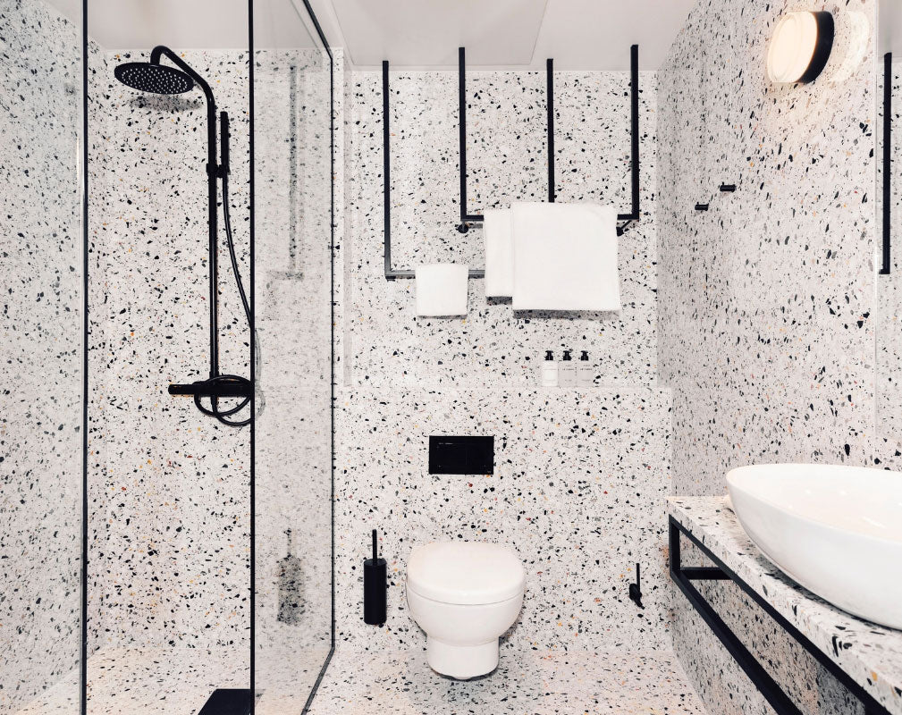 Blique by Nobis is a contemporary design hotel in Stockholm in a converted warehouse - bathroom