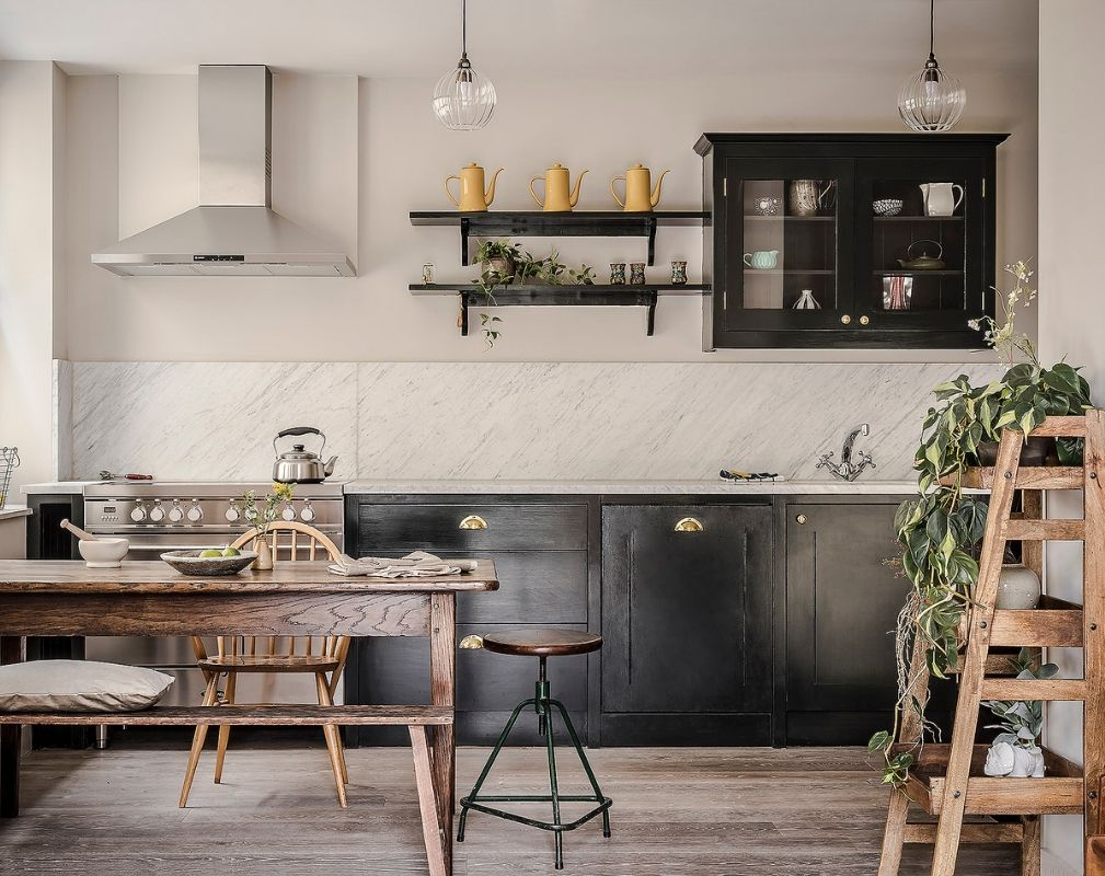 Dark Painted Kitchens by British Standard in a converted school building in Hackney
