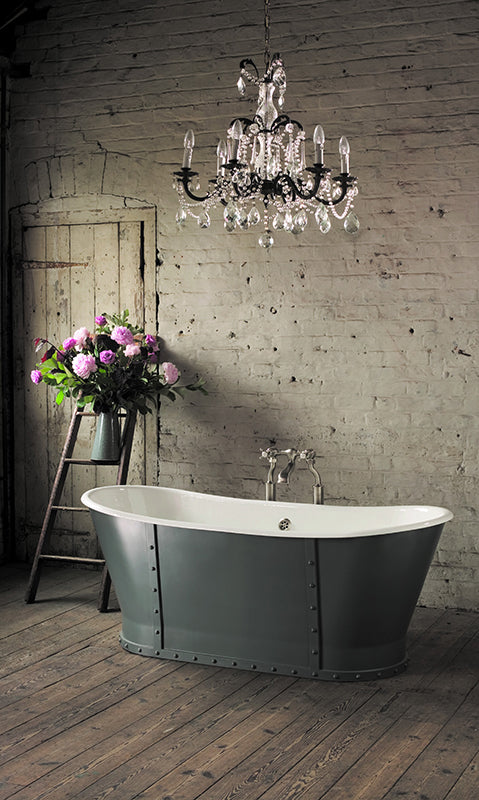 the astonian brunel bath from aston matthews features tactile rivet detailing well suited to industrial interior schemes