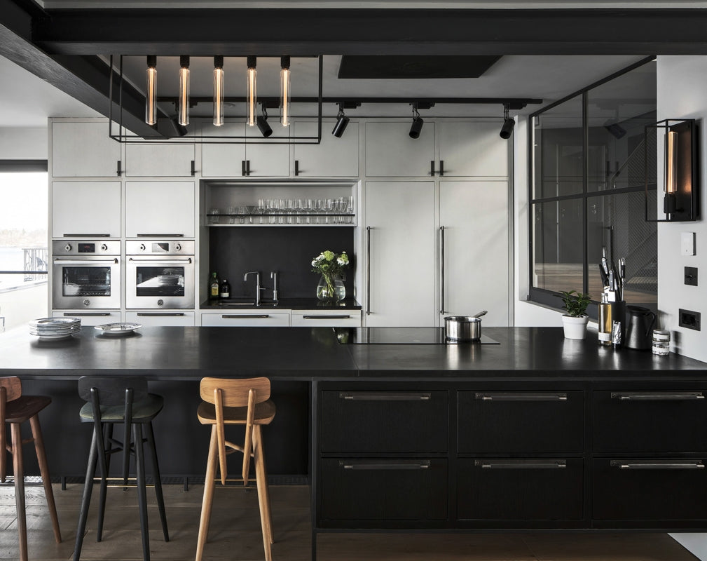 Buster + Punch CAGED lighting featured in an industrial chic kitchen