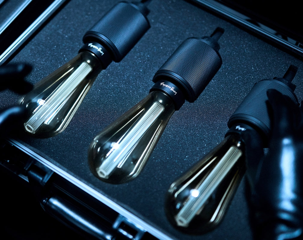 Buster + Punch Heavy Metal Pendant lights in a carry case as featured in the short movie Switch Up