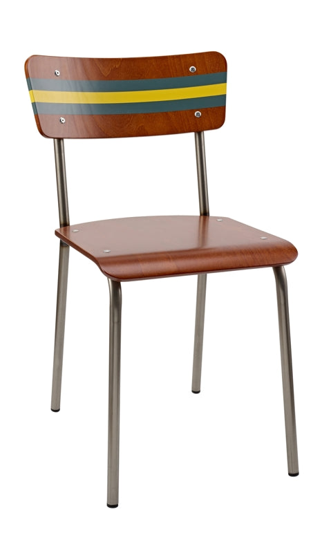 Buy Scott & Taylor's classic school chair with green and yellow stripe from the Warehouse Home store