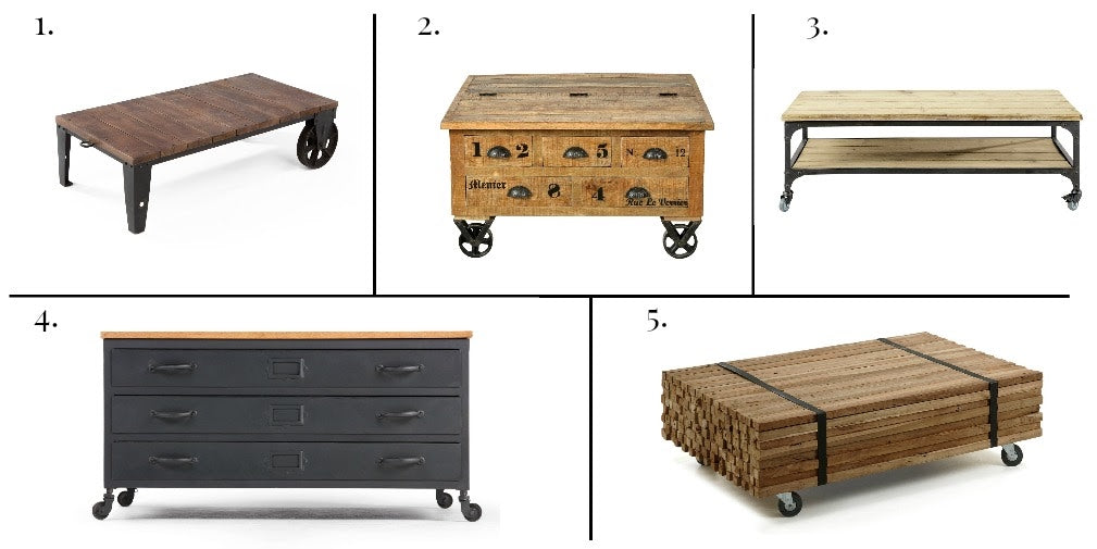 A selection of five industrial style coffee tables on castors