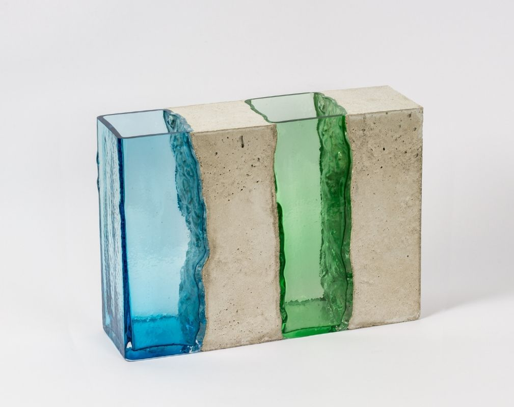 Colin Wilkes Unify Series of mixed media sculptures made from glass and concrete