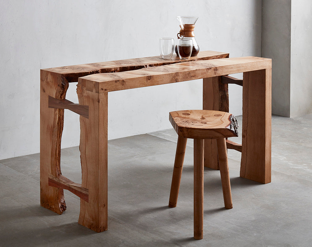 contemporary live edge furniture by Takumi Woodwork features at clerkenwell design week