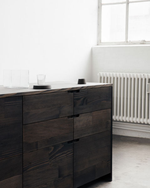 Created from surplus Dinesen wood flooring planks UP is a sustainable kitchen design by Reform in collaboration with Lendager Group