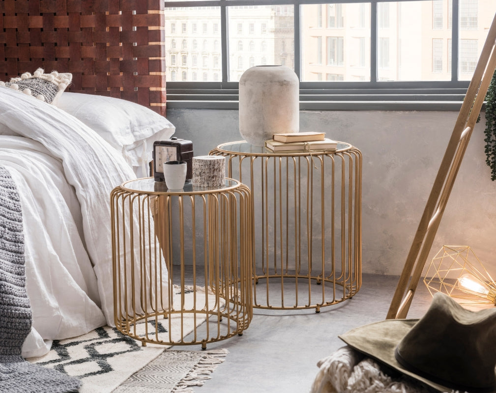 Tough Luxe sophisticated luxurious industrial style bedroom featuring pieces from Cuckooland