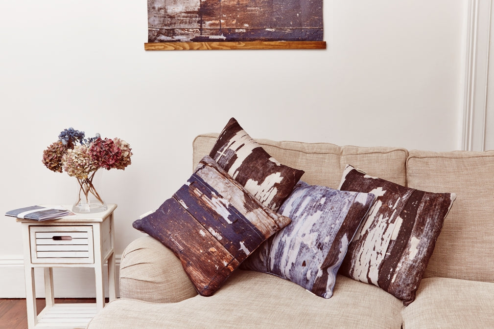 Cushions from Ruth Holly's Signature collection complete a cosy, contemporary living room scheme
