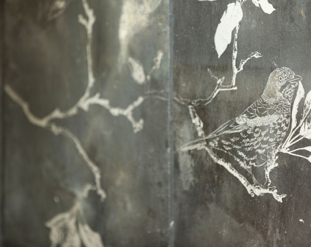 A close-up of Daniel Heath's Espalier Etched Slate Tiles made from reclaimed Welsh slate