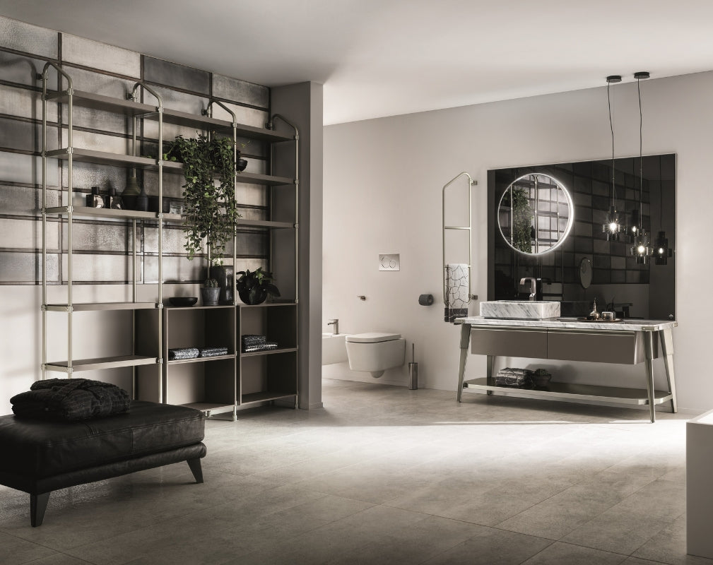 Open Workshop Industrial Style Bathroom from Scavolini and Diesel Living featuring floor to ceiling tubular shelving