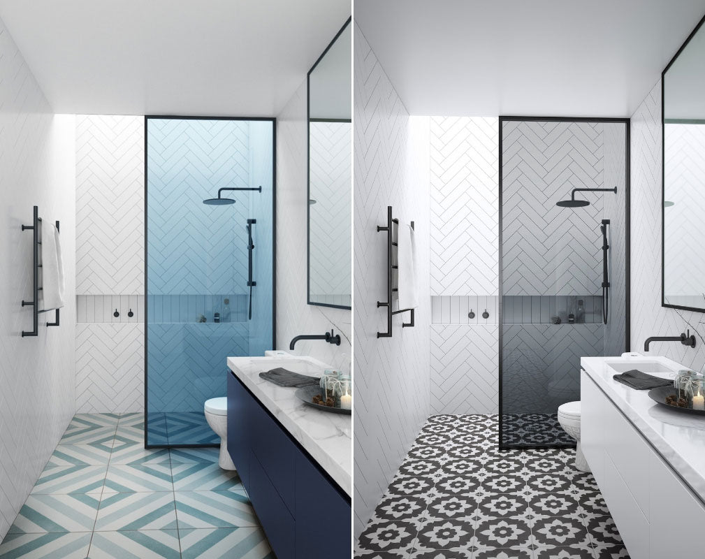 Bathroom Trends Crittall Style Shower panels and enclosures. Drench Harbour Status Shower Panels with blue glass and smoked glass.