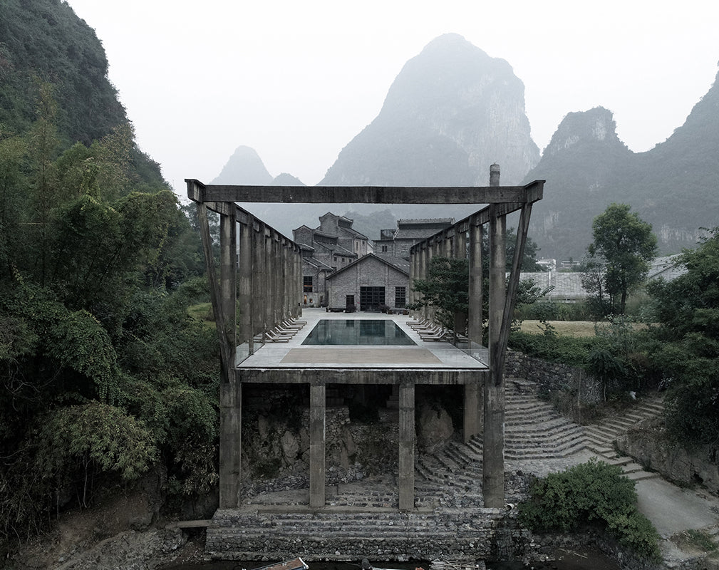 exterior of alila yangshuo a converted sugar factory in china by vector architects photography by Shengliang  Su