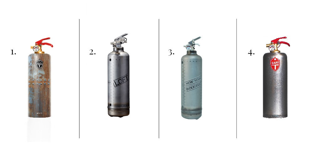 Industrial style fire extinguishers perfect for a converted warehouse or loft living aesthetic