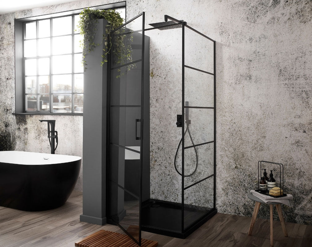 Bathroom Trends Crittall Style shower screens and panels. Frontline Aquaglass Velar Black Crittall Corner Entry Enclosure