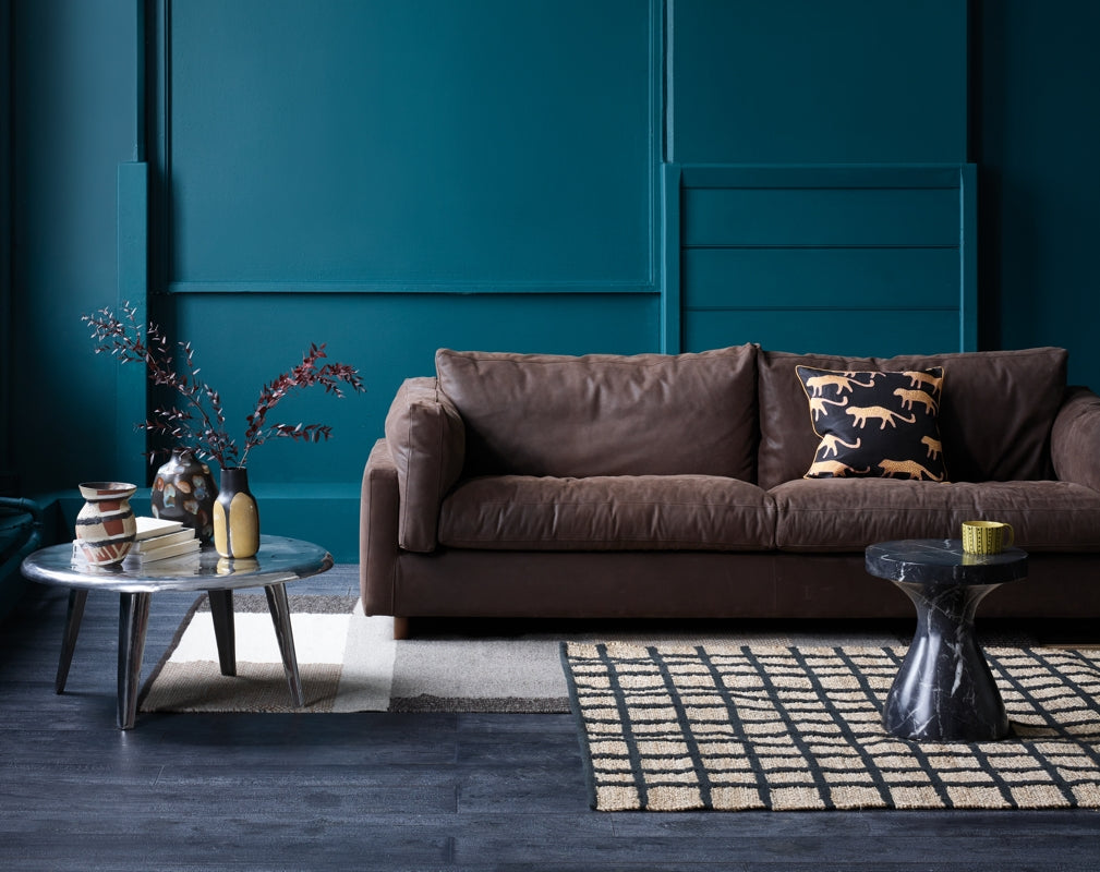 Habitat's Elkin sofa from their AW18 collection is the focal point of an industrial chic living room