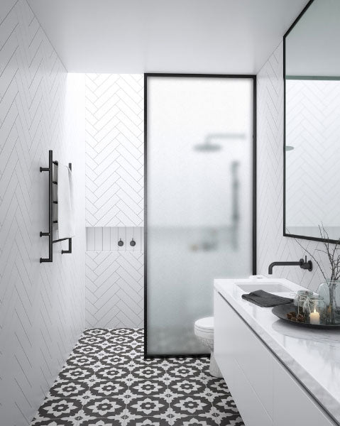 Bathroom Trends Crittall Style Shower screens and panels. Harbour Status Walk-in Panels with Frosted Glass from Drench