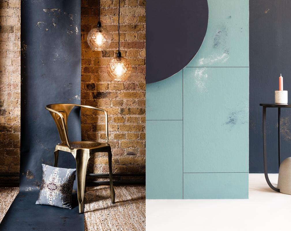 Igneous wallpaper from CUSTHOM featured in two room sets. Image on left from Warehouse Home Issue Three by Oliver Perrott