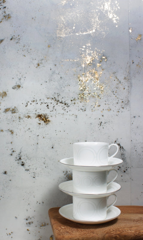 Igneous wallpaper in Granite by CUSTHOM provides an elegant backdrop in a kitchen scheme