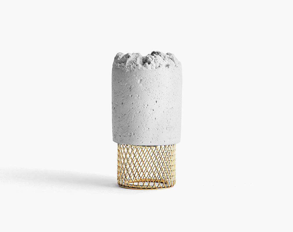 Moira mesh crowd candleholder in concrete and brass from newworks