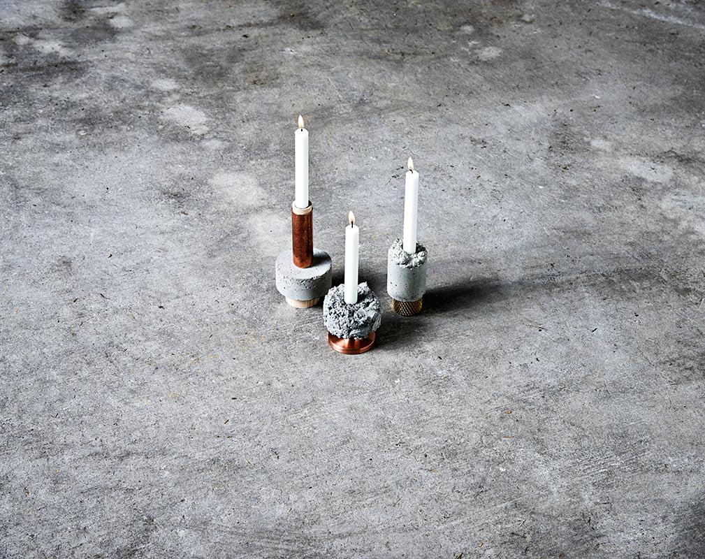 Crown concrete and copper candleholders from Newworks
