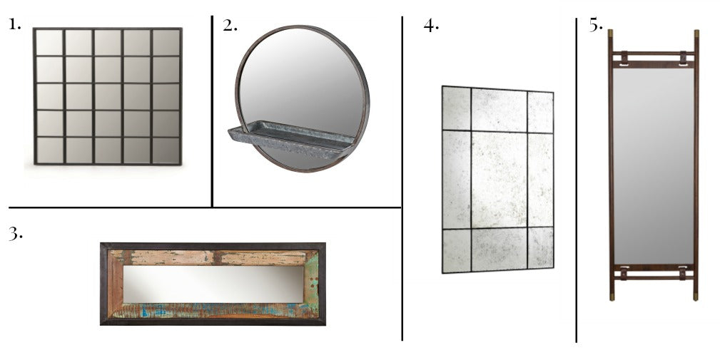 FIVE INDUSTRIAL STYLE MIRRORS FOR A WAREHOUSE HOME OR AN INDUSTRIAL LOFT