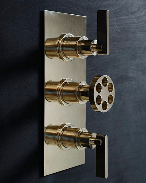 Industrial Style Triple Valve Thermostat Shower by Studio Ore