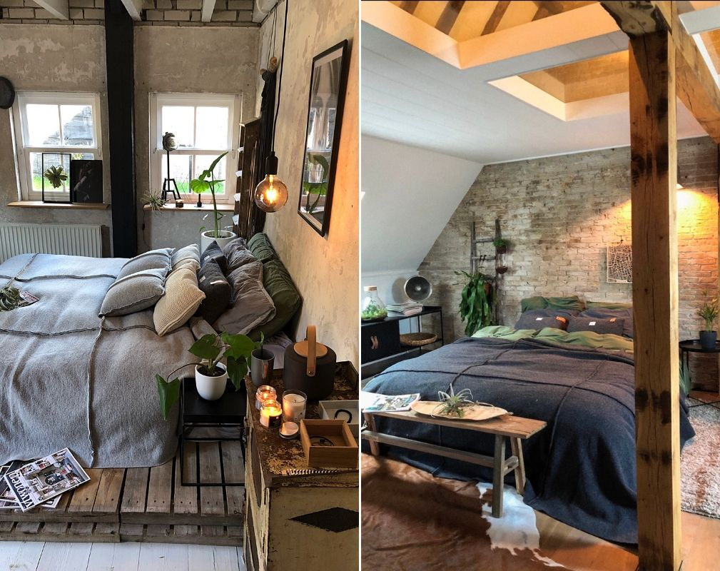 Jellina Detmar's industrial style farmhouse. The exposed brick wall creates an industrial style statement behind the bed