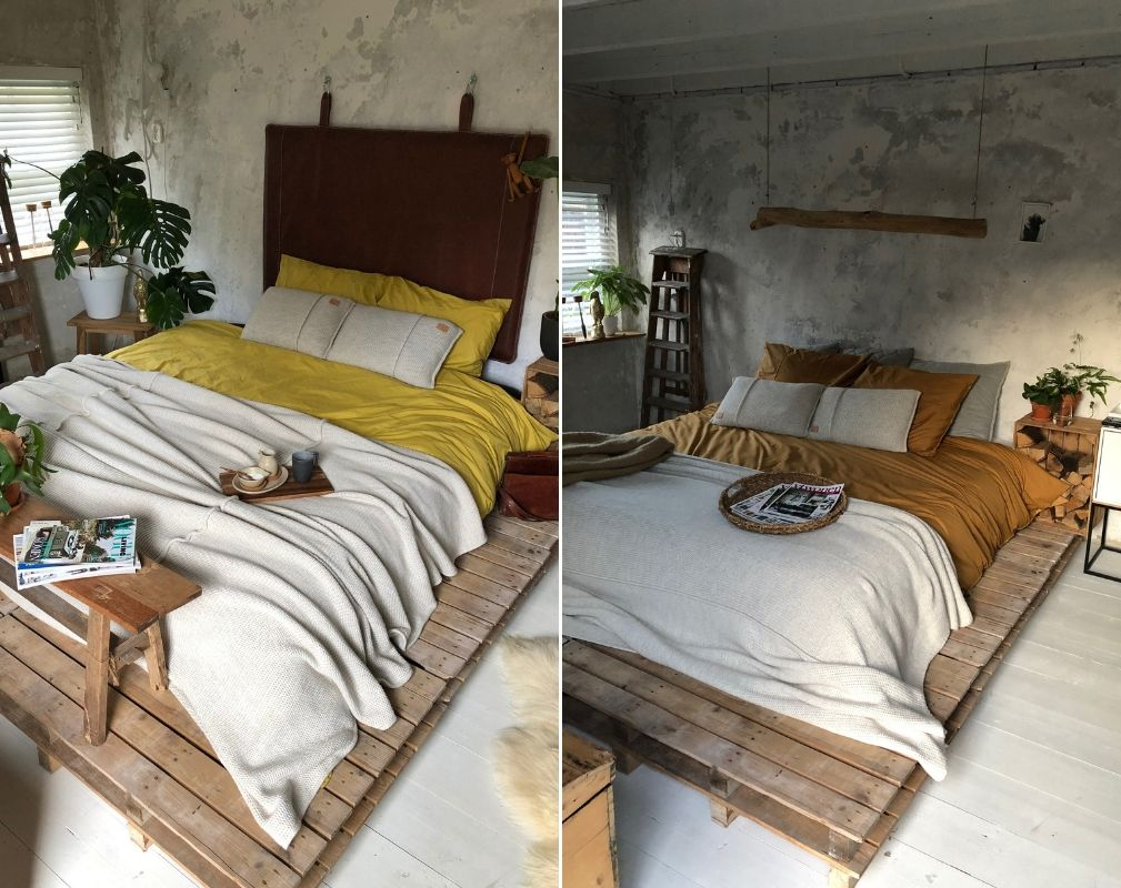 Jellina Detmar's industrial style farmhouse. The bed is placed on a pallet platform