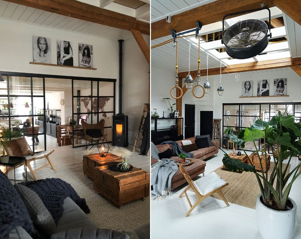 Jellina Detmar's Industrial Style Farmhouse. The high ceilings and large wooden beams in this room allow industrial lighting and vintage gym equipment to be suspended.