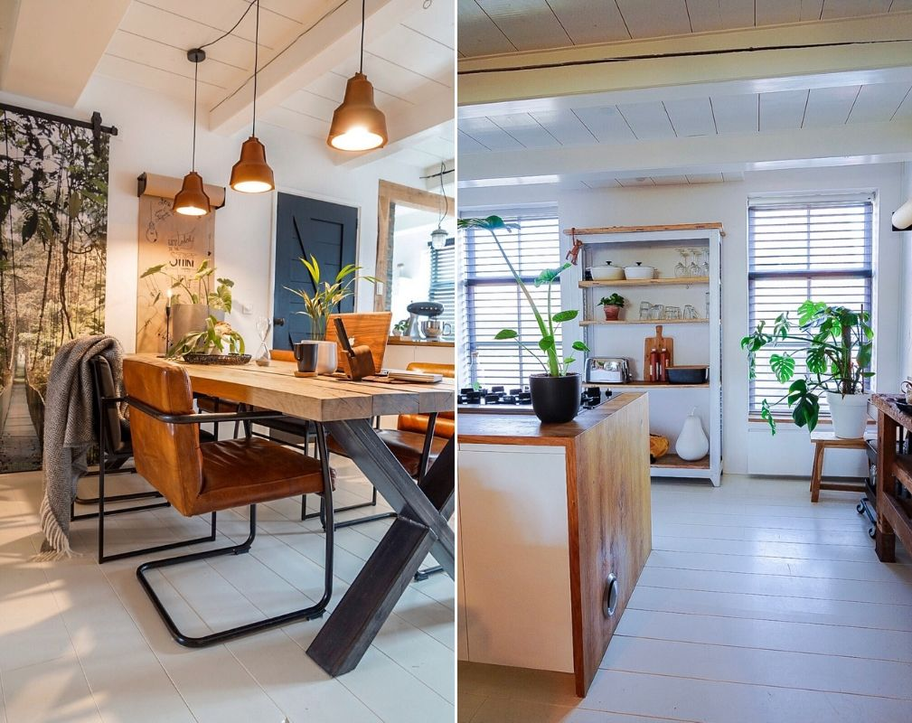 Jellina Detmar's industrial style farmhouse. Open plan kitchen diner provides a communal space for all the family.