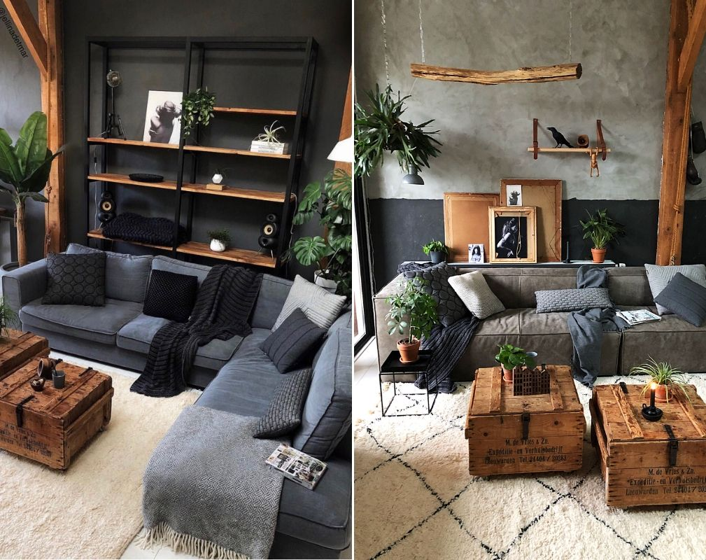 Jellina Detmar's industrial style farmhouse. Vintage pieces feature alongside more modern items in the living room