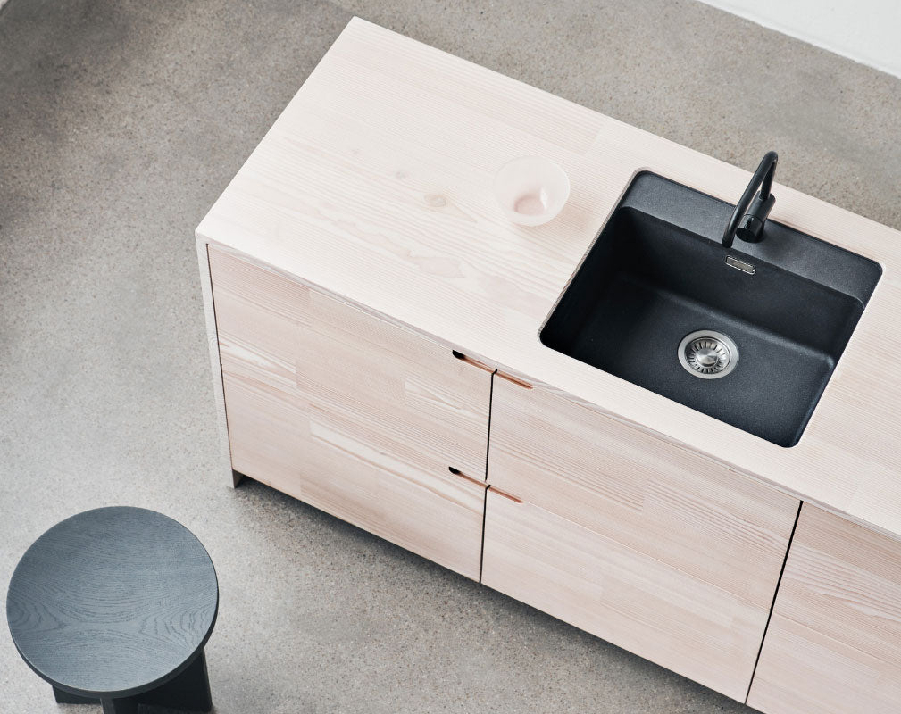 Lendager Group and Reform sustainable kitchen design made from surplus wood flooring planks from Dinesen