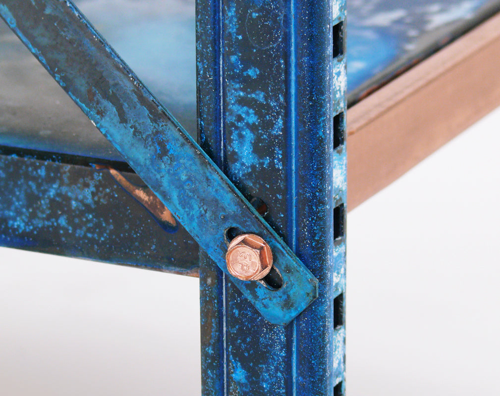detail of shelves with patinated copper finish from lex pott