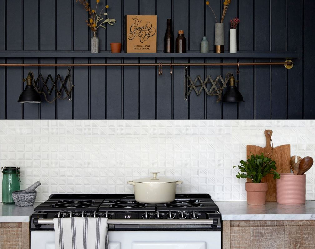 3D Cement wall tiles designed by Lindsey Lang and featured in a rustic kitchen