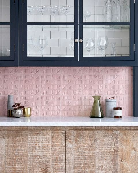 Lindsey Lang's pink 3D Cement Tiles in a rustic kitchen