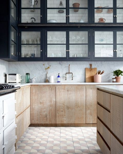 Lindsey Lang's Encaustic Cement floor tiles in a scallop pattern featured in a rustic kitchen